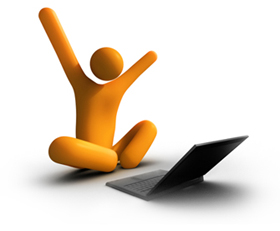 Character by laptop raising arms in victorious joy